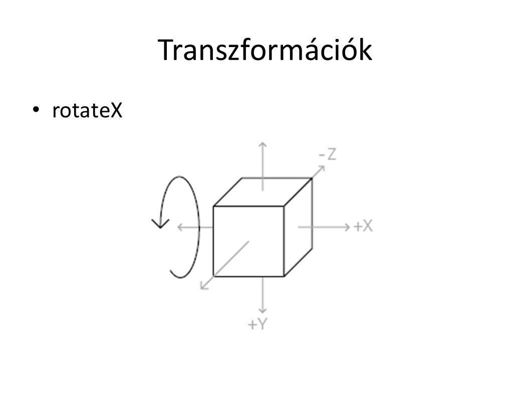 Transzformációk rotateY