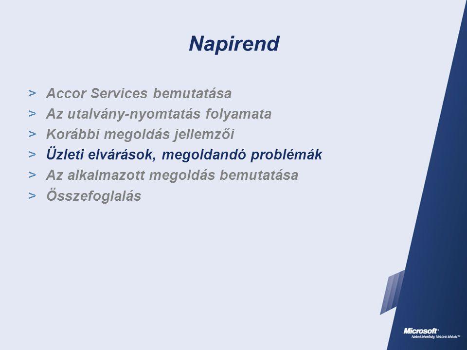 Napirend  Accor Services bemutatása  Az utalvány-nyomtatás folyamata  Korábbi megoldás jellemzői  Üzleti elvárások, megoldandó problémák  Az alkalmazott megoldás bemutatása  Összefoglalás