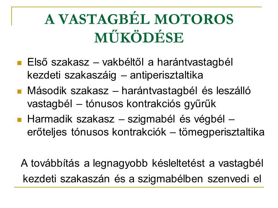 A VASTAGBÉL MOTOROS MŰKÖDÉSE Első szakasz – vakbéltől a harántvastagbél kezdeti szakaszáig – antiperisztaltika Második szakasz – harántvastagbél és le