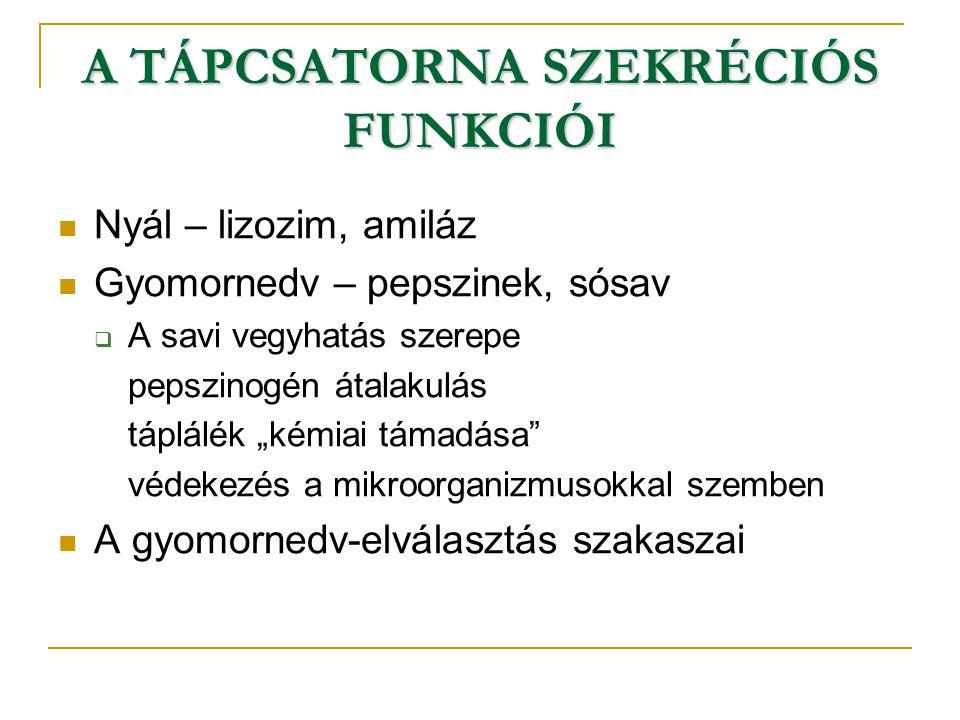 """A TÁPCSATORNA SZEKRÉCIÓS FUNKCIÓI Nyál – lizozim, amiláz Gyomornedv – pepszinek, sósav  A savi vegyhatás szerepe pepszinogén átalakulás táplálék """"kém"""