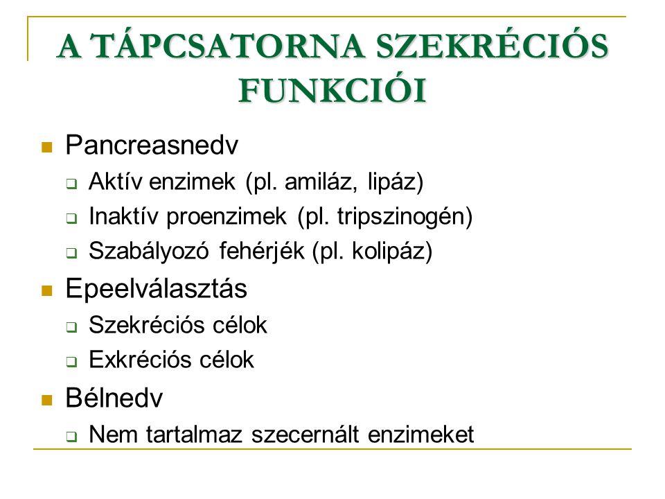 A TÁPCSATORNA SZEKRÉCIÓS FUNKCIÓI Pancreasnedv  Aktív enzimek (pl. amiláz, lipáz)  Inaktív proenzimek (pl. tripszinogén)  Szabályozó fehérjék (pl.