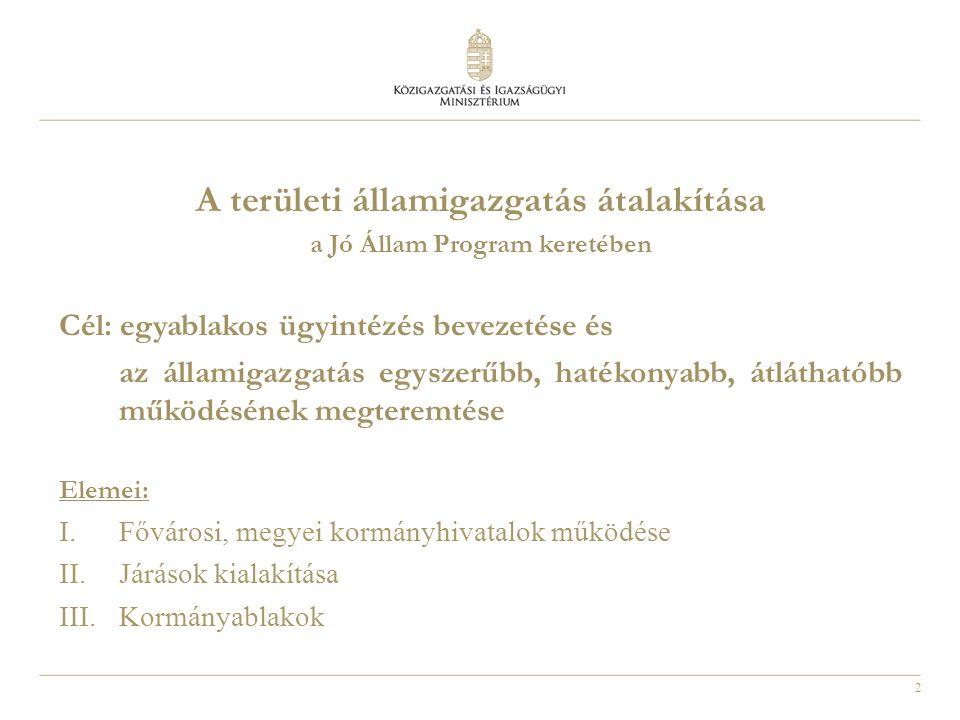 2 a Jó Állam Program keretében Cél: egyablakos ügyintézés bevezetése és az államigazgatás egyszerűbb, hatékonyabb, átláthatóbb működésének megteremtés