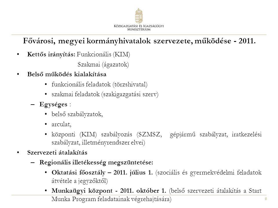 6 Fővárosi, megyei kormányhivatalok szervezete, működése - 2011. Kettős irányítás: Funkcionális (KIM) Szakmai (ágazatok) Belső működés kialakítása fun
