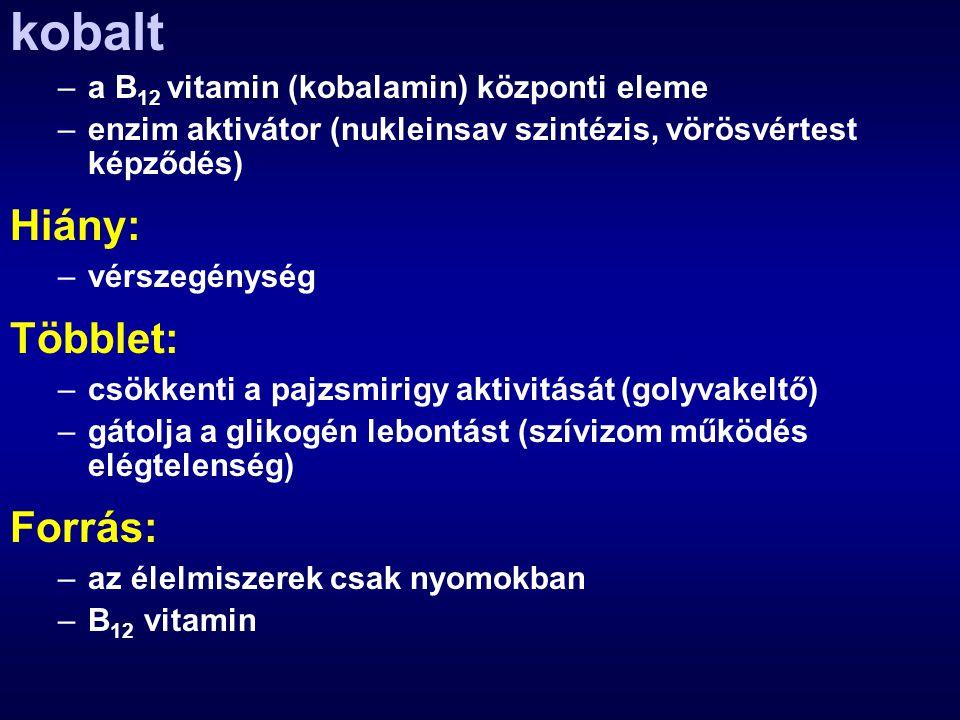 kobalt –a B 12 vitamin (kobalamin) központi eleme –enzim aktivátor (nukleinsav szintézis, vörösvértest képződés) Hiány: –vérszegénység Többlet: –csökk