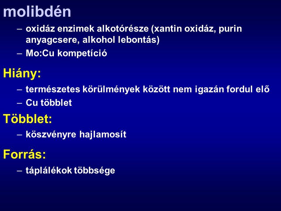 molibdén –oxidáz enzimek alkotórésze (xantin oxidáz, purin anyagcsere, alkohol lebontás) –Mo:Cu kompetíció Hiány: –természetes körülmények között nem