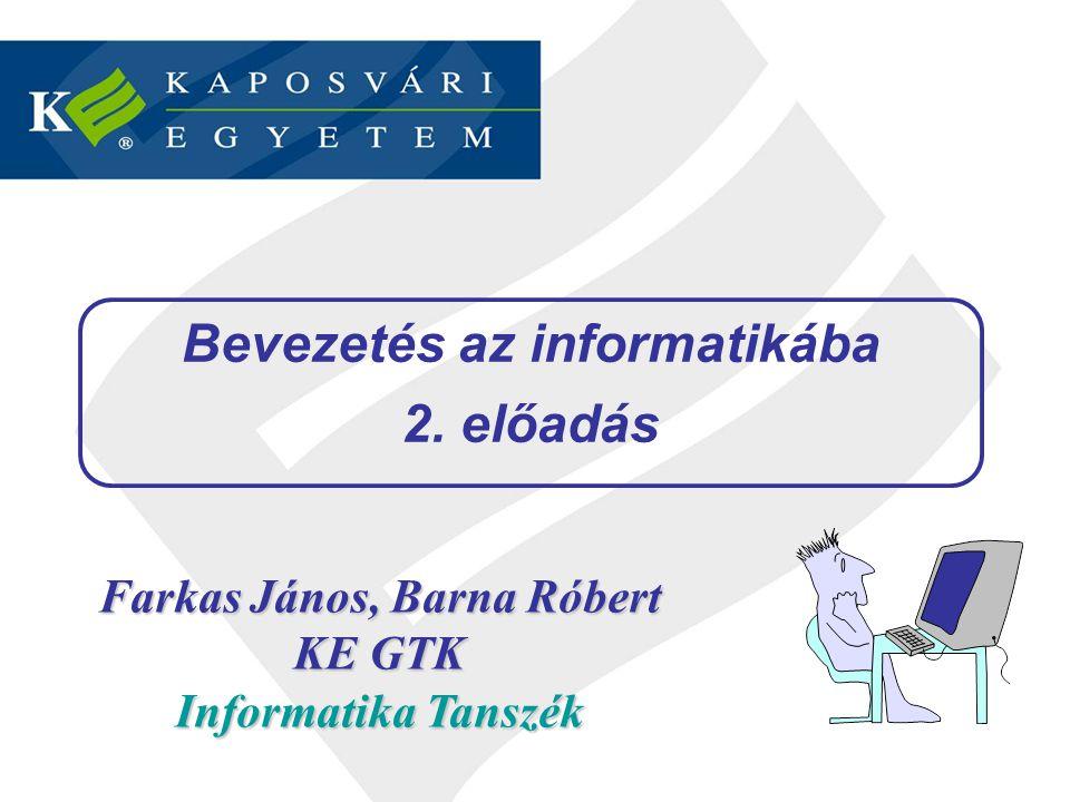 Bevezetés az informatikába – 2.előadás33 / 35 Mágneses háttértárak 5.