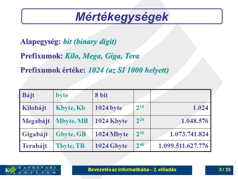 Bevezetés az informatikába – 2.előadás34 / 35 Mágneses háttértárak 6.