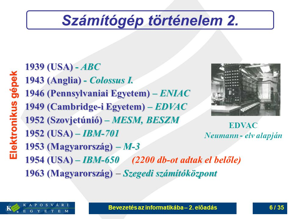 Bevezetés az informatikába – 2.előadás27 / 35 Memória 4.