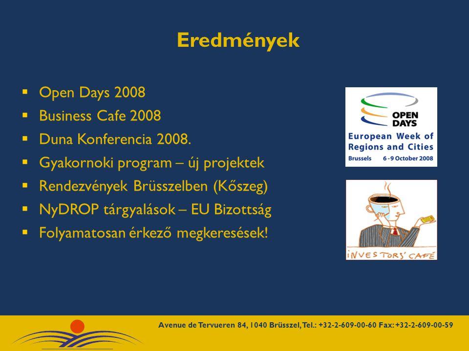 Eredmények  Open Days 2008  Business Cafe 2008  Duna Konferencia 2008.
