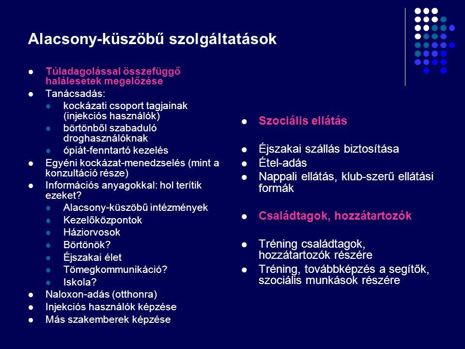 Alacsony-küszöbű szolgáltatások Kezelőrendszerbe-juttatás segítése Metadon fenntartó kezelésbe juttatás Absztinenciát célzó terápiába/rehabilitációs intézménybe való juttatás Más pszichiátriai betegséget kezelő intézménybe juttatás Szomatikus kezelést nyújtó intézménybe juttatás (kivéve: fertőző betegségek) Fertőző betegségek kezelését nyújtó intézményekbe juttatás Háziorvoshoz történő juttatás Szolgáltatások más szakemberek/célcsoportok számára Rendőrök, rendőrségi alkalmazottak Börtönőrök, börtönben dolgozók Droghasználó családtagjai, barátai Nyilvános helyen injekciózók Túladagolást túlélt injekciós használók Kezelést kezdő vagy befejező droghasználóknak Börtönből szabaduló droghasználóknak Klubok, bárok és szórakozóhelyek alkalmazottjai A szolgáltatás célja Fertőző betegségek megelőzése Egészséges életmód Biztonságosabb injekciózási technikák Biztonságosabb szex Rendőröknek, hogy túladagolásnál hívják a mentőt Droghasználóknak, hogy hívják a mentőt
