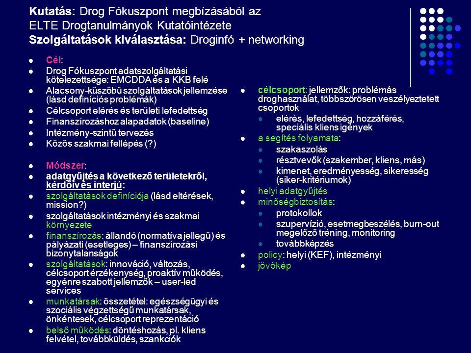 """Az eredmények hasznosulása Országos drogpolitikai tervezés – komplex keresletcsökkentés (lásd EU Tanács határozat): egészségügy ellátás + szociális ellátás + kábítószerügyi koordináció (+ rendőrség, bv) Országos drogpolitikai tervezés: fertőző betegségek megelőzése a droghasználók között Minőségbiztosításhoz és finanszírozáshoz alapadatok Helyi drogpolitikai szervezés: önkormányzatok drogpolitikája – KEF- ek szerepe Intézményi tervezés: szolgáltatások, kapacitás, célcsoportok, belső működés (?) Adatszolgáltatási protokoll Közös szakmai fellépés (?) A program további sorsa Drog Fókuszpont éves beszámolói EMCDDA alacsony-küszöbű projekt """"Correlation network: alacsony- küszöbű intézmények és vulnerábilis célcsoportok TDI"""