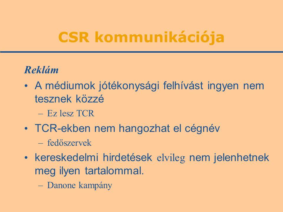 CSR kommunikációja Reklám A médiumok jótékonysági felhívást ingyen nem tesznek közzé –Ez lesz TCR TCR-ekben nem hangozhat el cégnév –fedőszervek kereskedelmi hirdetések elvileg nem jelenhetnek meg ilyen tartalommal.
