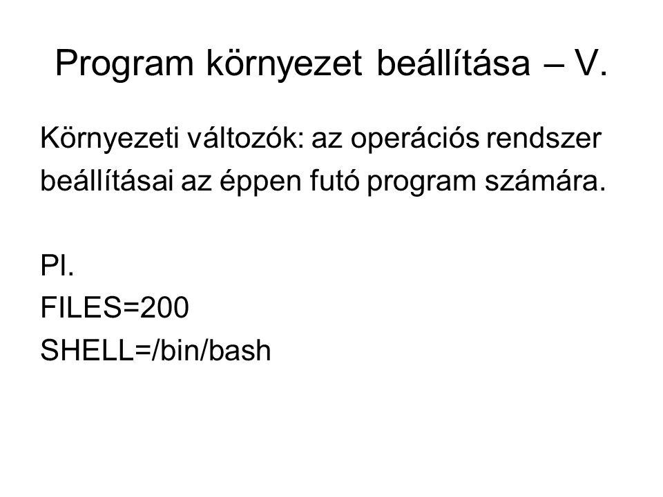 Program környezet beállítása – V. Környezeti változók: az operációs rendszer beállításai az éppen futó program számára. Pl. FILES=200 SHELL=/bin/bash