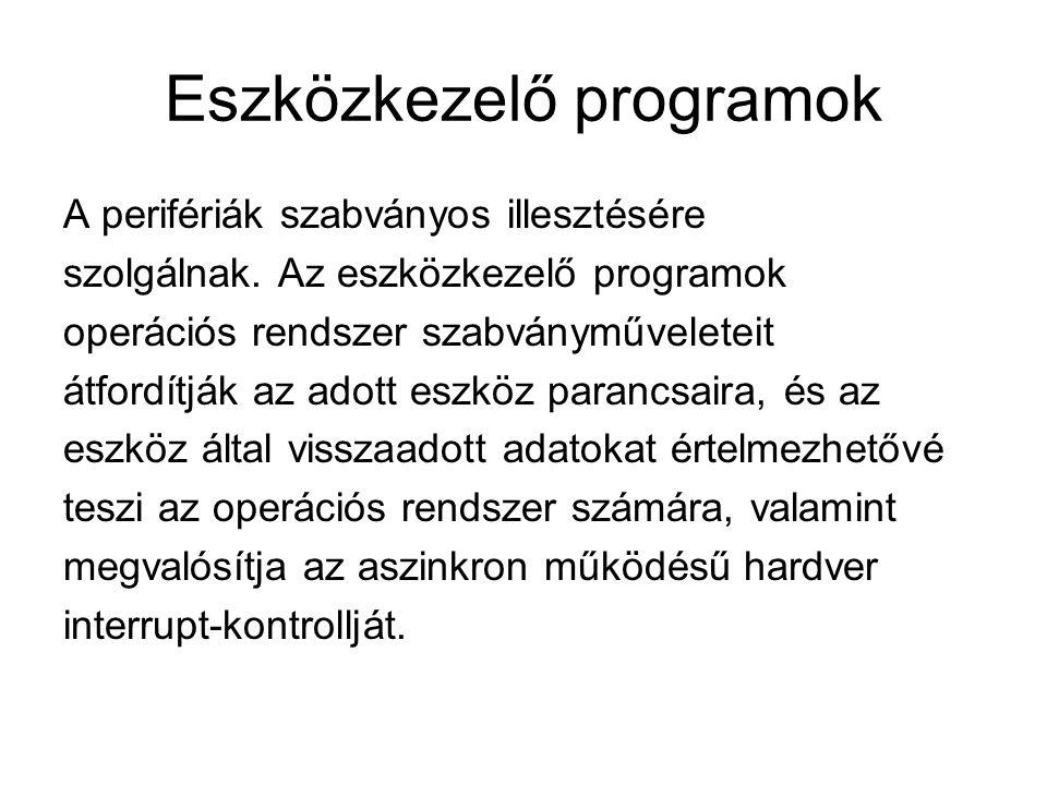 A shellek feladatai Programkezelés - programok indítása - program környezet beállítása - folyamatok futásának ellenőrzése Egyéb funkciók biztosítása a felhasználók számára (pl.