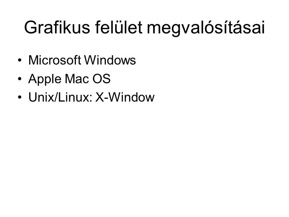 Grafikus felület megvalósításai Microsoft Windows Apple Mac OS Unix/Linux: X-Window