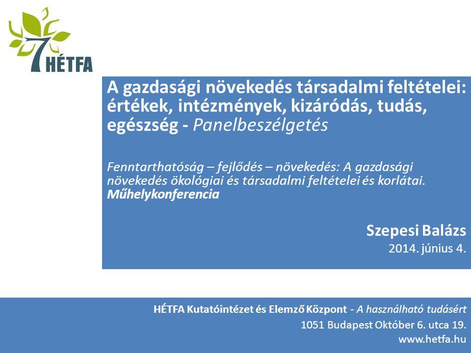 HÉTFA Kutatóintézet és Elemző Központ A gazdasági növekedés társadalmi feltételei: értékek, intézmények, kizáródás, tudás, egészség - Panelbeszélgetés Fenntarthatóság – fejlődés – növekedés: A gazdasági növekedés ökológiai és társadalmi feltételei és korlátai.