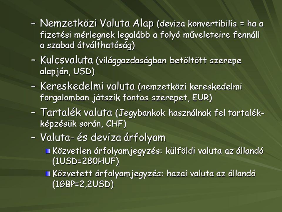 –Nemzetközi Valuta Alap (deviza konvertibilis = ha a fizetési mérlegnek legalább a folyó műveleteire fennáll a szabad átválthatóság) –Kulcsvaluta (vil