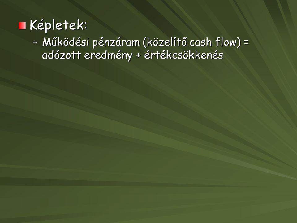 Képletek: –Működési pénzáram (közelítő cash flow) = adózott eredmény + értékcsökkenés