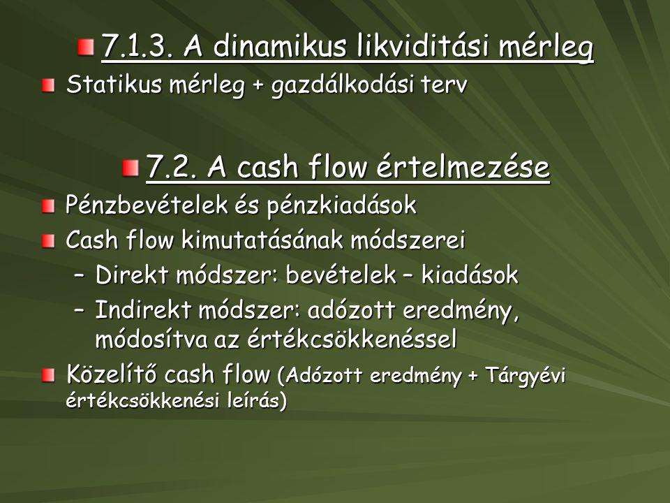 7.1.3. A dinamikus likviditási mérleg Statikus mérleg + gazdálkodási terv 7.2. A cash flow értelmezése Pénzbevételek és pénzkiadások Cash flow kimutat