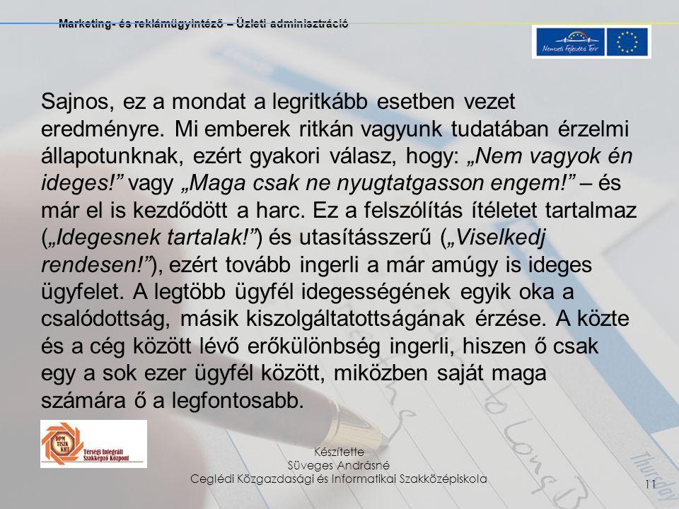 Marketing- és reklámügyintéző – Üzleti adminisztráció Készítette Süveges Andrásné Ceglédi Közgazdasági és Informatikai Szakközépiskola 11 Sajnos, ez a mondat a legritkább esetben vezet eredményre.