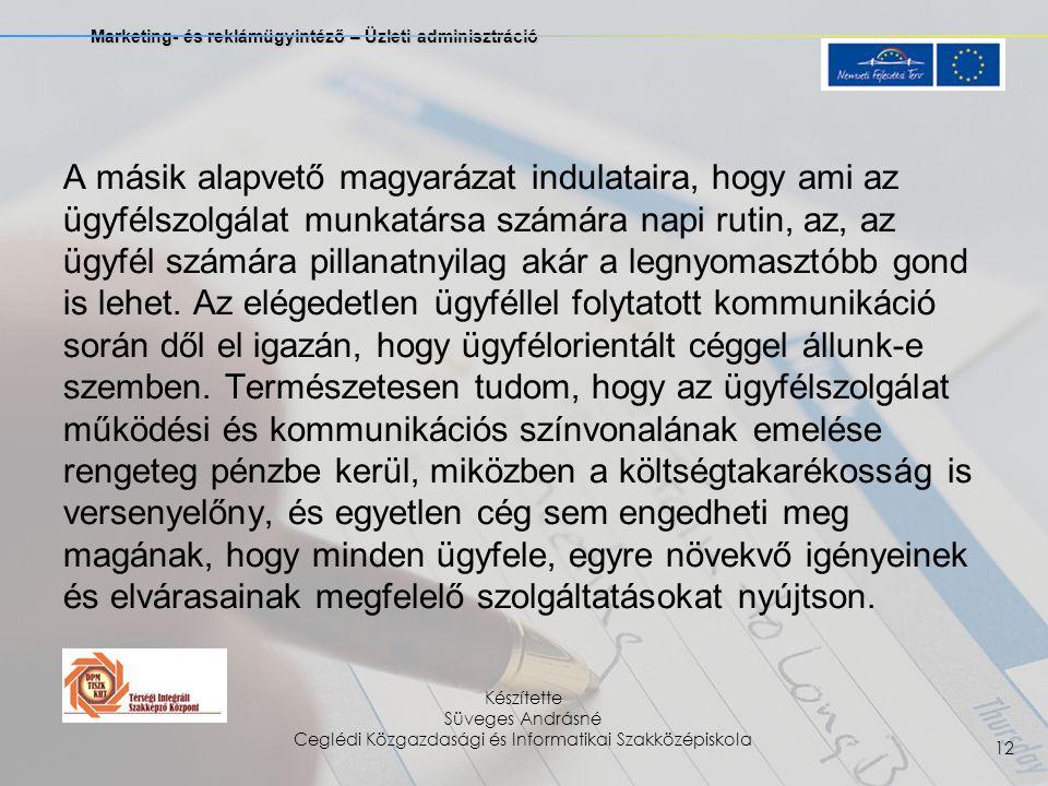 Marketing- és reklámügyintéző – Üzleti adminisztráció Készítette Süveges Andrásné Ceglédi Közgazdasági és Informatikai Szakközépiskola 12 A másik alapvető magyarázat indulataira, hogy ami az ügyfélszolgálat munkatársa számára napi rutin, az, az ügyfél számára pillanatnyilag akár a legnyomasztóbb gond is lehet.