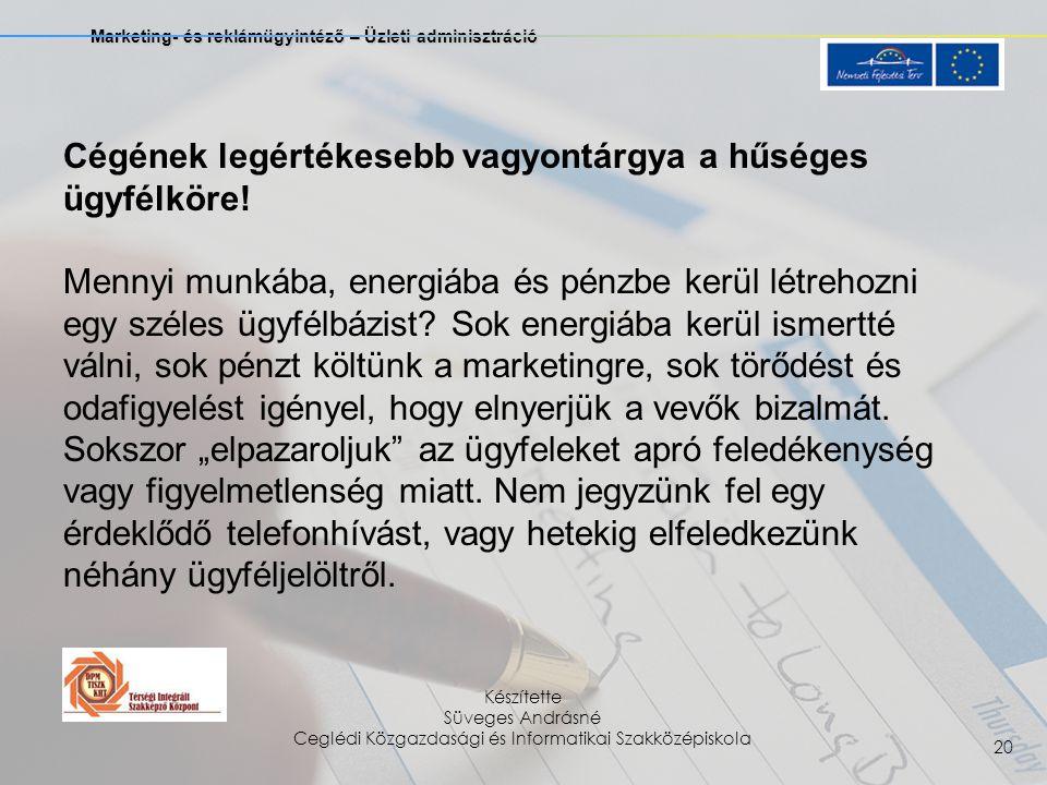 Marketing- és reklámügyintéző – Üzleti adminisztráció Készítette Süveges Andrásné Ceglédi Közgazdasági és Informatikai Szakközépiskola 20 Cégének legértékesebb vagyontárgya a hűséges ügyfélköre.
