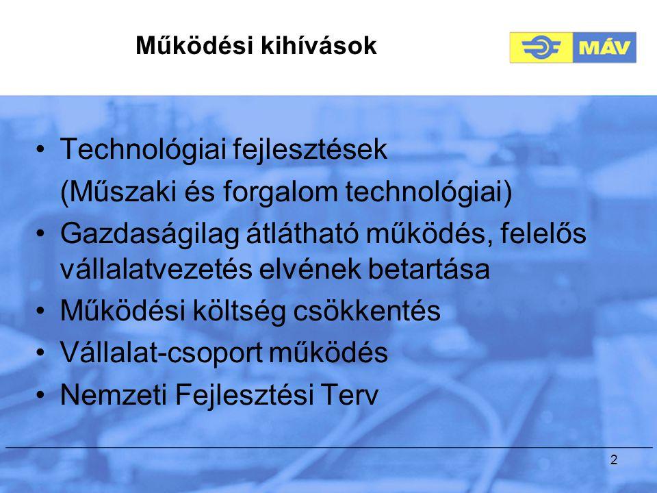 2 Technológiai fejlesztések (Műszaki és forgalom technológiai) Gazdaságilag átlátható működés, felelős vállalatvezetés elvének betartása Működési költség csökkentés Vállalat-csoport működés Nemzeti Fejlesztési Terv Működési kihívások