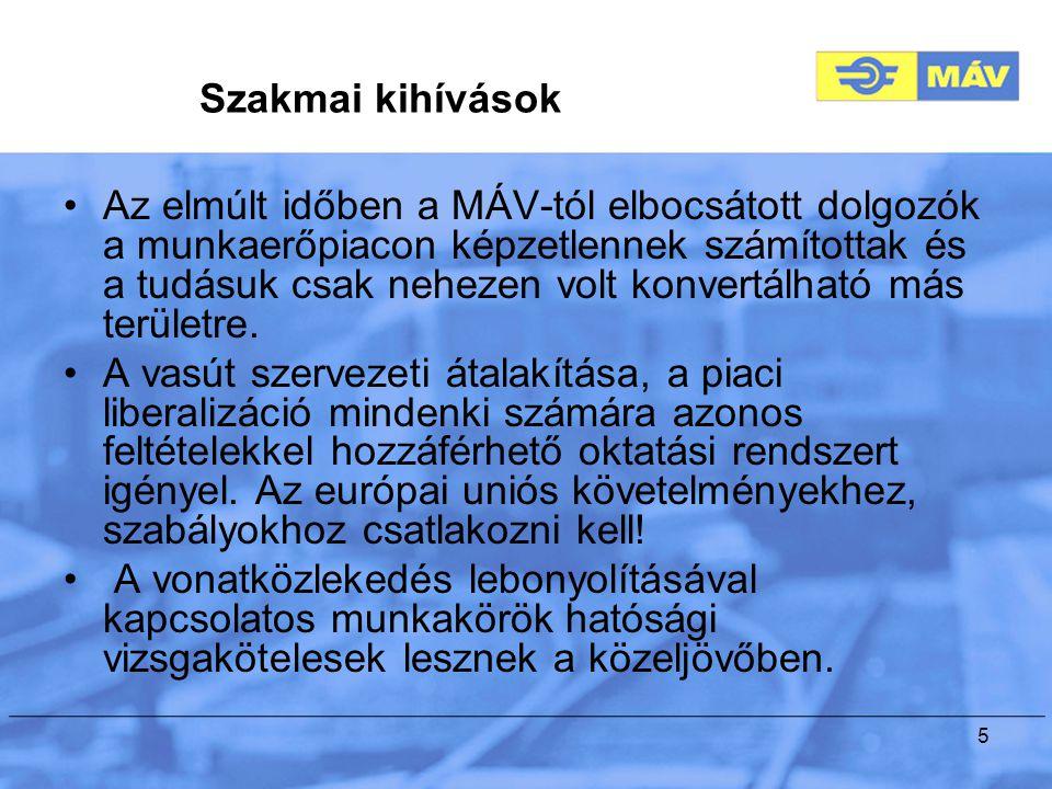 5 Szakmai kihívások Az elmúlt időben a MÁV-tól elbocsátott dolgozók a munkaerőpiacon képzetlennek számítottak és a tudásuk csak nehezen volt konvertálható más területre.