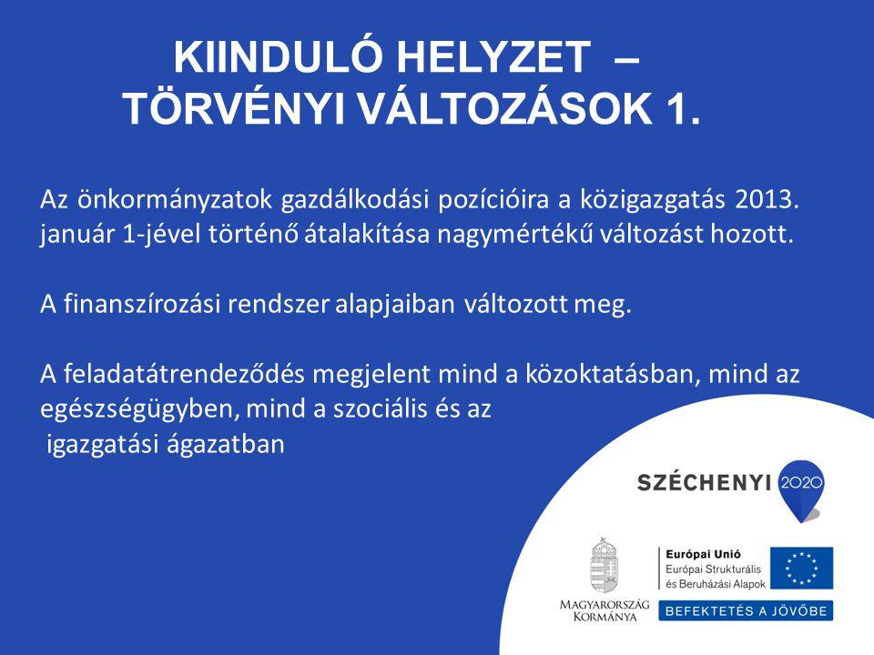 KIINDULÓ HELYZET – TÖRVÉNYI VÁLTOZÁSOK 1. Az önkormányzatok gazdálkodási pozícióira a közigazgatás 2013. január 1-jével történő átalakítása nagymérték