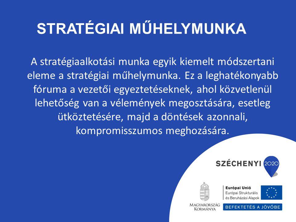 STRATÉGIAI MŰHELYMUNKA A stratégiaalkotási munka egyik kiemelt módszertani eleme a stratégiai műhelymunka. Ez a leghatékonyabb fóruma a vezetői egyezt