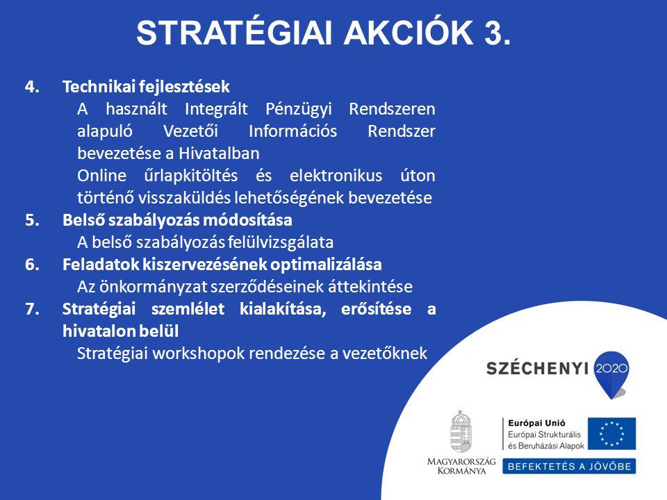 STRATÉGIAI AKCIÓK 3. 4.Technikai fejlesztések A használt Integrált Pénzügyi Rendszeren alapuló Vezetői Információs Rendszer bevezetése a Hivatalban On