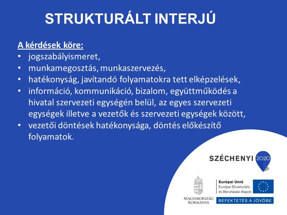 STRUKTURÁLT INTERJÚ A kérdések köre: jogszabályismeret, munkamegosztás, munkaszervezés, hatékonyság, javítandó folyamatokra tett elképzelések, informá