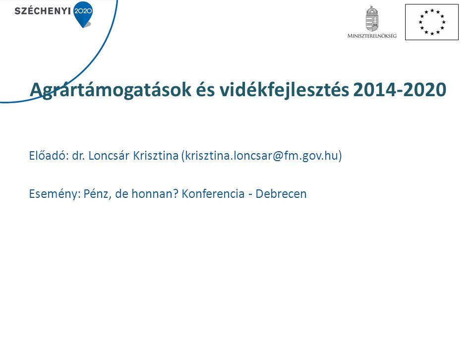 Agrártámogatások és vidékfejlesztés 2014-2020 Előadó: dr. Loncsár Krisztina (krisztina.loncsar@fm.gov.hu) Esemény: Pénz, de honnan? Konferencia - Debr