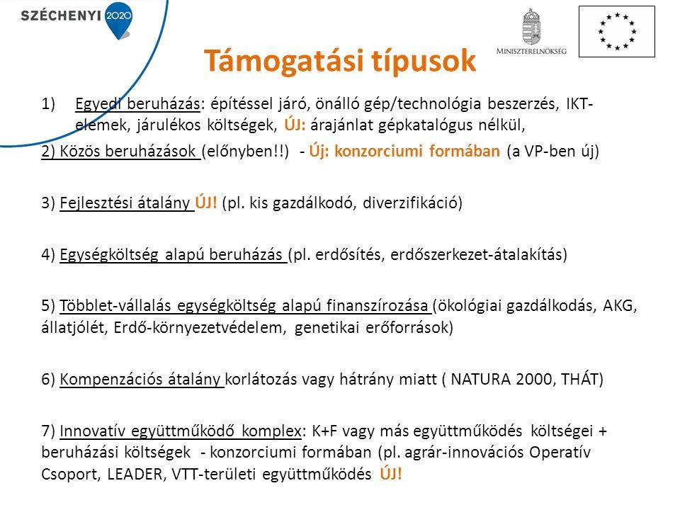 Támogatási típusok 1)Egyedi beruházás: építéssel járó, önálló gép/technológia beszerzés, IKT- elemek, járulékos költségek, ÚJ: árajánlat gépkatalógus nélkül, 2) Közös beruházások (előnyben!!) - Új: konzorciumi formában (a VP-ben új) 3) Fejlesztési átalány ÚJ.