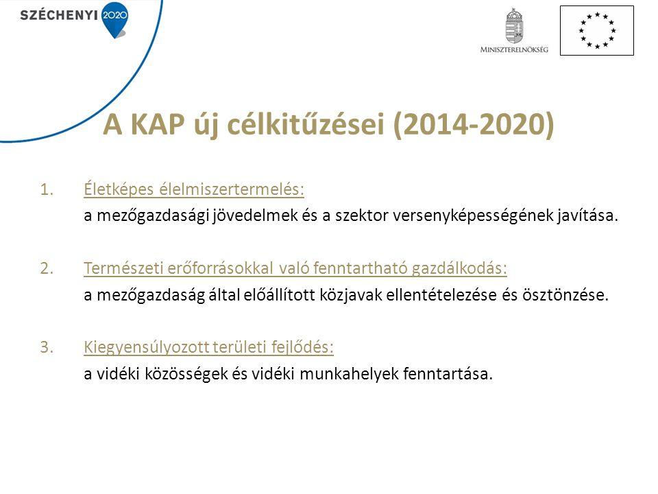 A KAP új célkitűzései (2014-2020) 1.Életképes élelmiszertermelés: a mezőgazdasági jövedelmek és a szektor versenyképességének javítása.