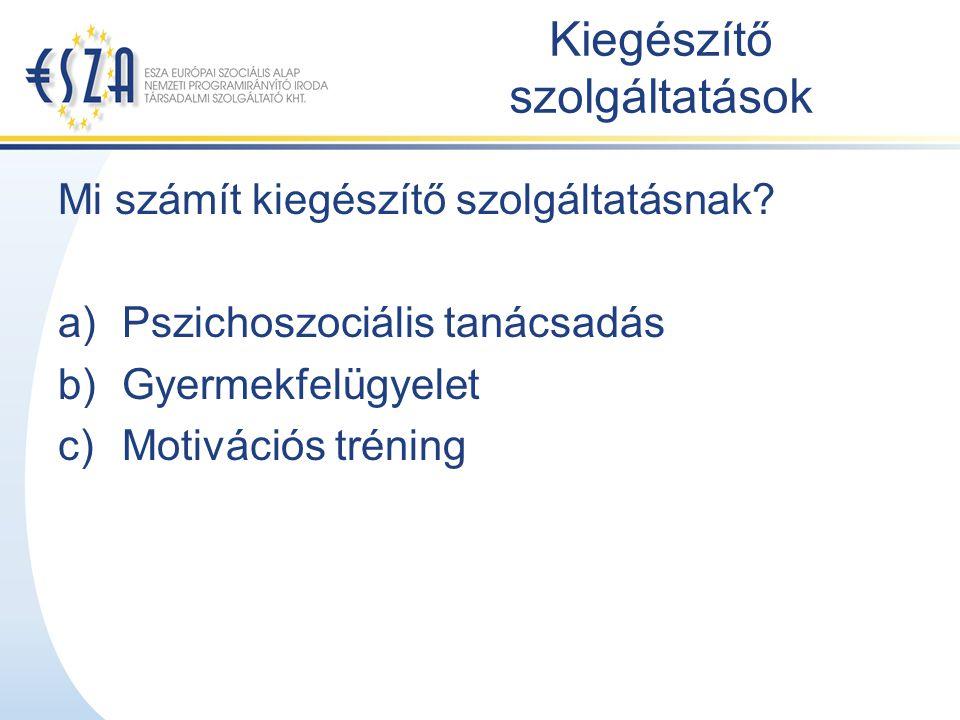 Kiegészítő szolgáltatások Mi számít kiegészítő szolgáltatásnak? a)Pszichoszociális tanácsadás b)Gyermekfelügyelet c)Motivációs tréning