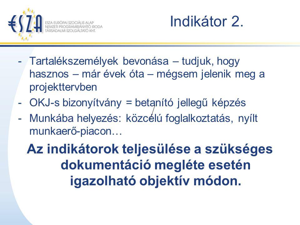 Indikátor 2. -Tartalékszemélyek bevonása – tudjuk, hogy hasznos – már évek óta – mégsem jelenik meg a projekttervben -OKJ-s bizonyítvány = betanító je