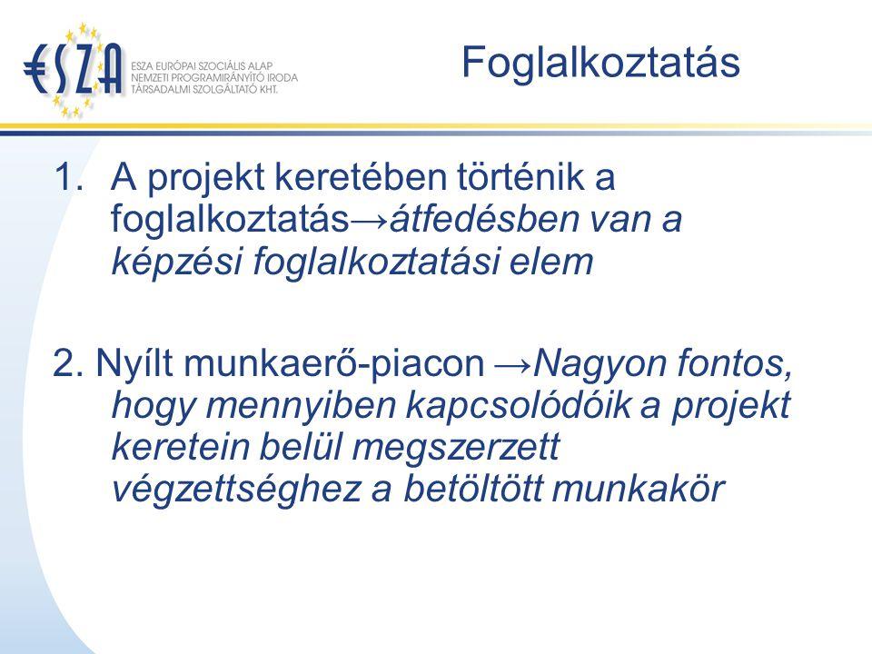 Foglalkoztatás 1.A projekt keretében történik a foglalkoztatás→átfedésben van a képzési foglalkoztatási elem 2.