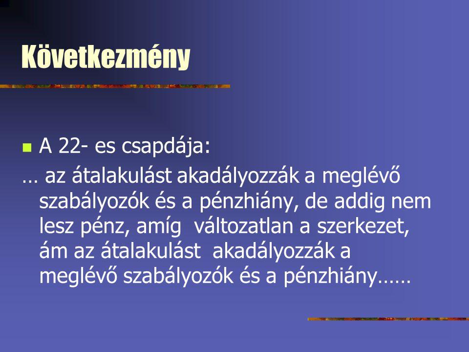 Következmény A 22- es csapdája: … az átalakulást akadályozzák a meglévő szabályozók és a pénzhiány, de addig nem lesz pénz, amíg változatlan a szerkez