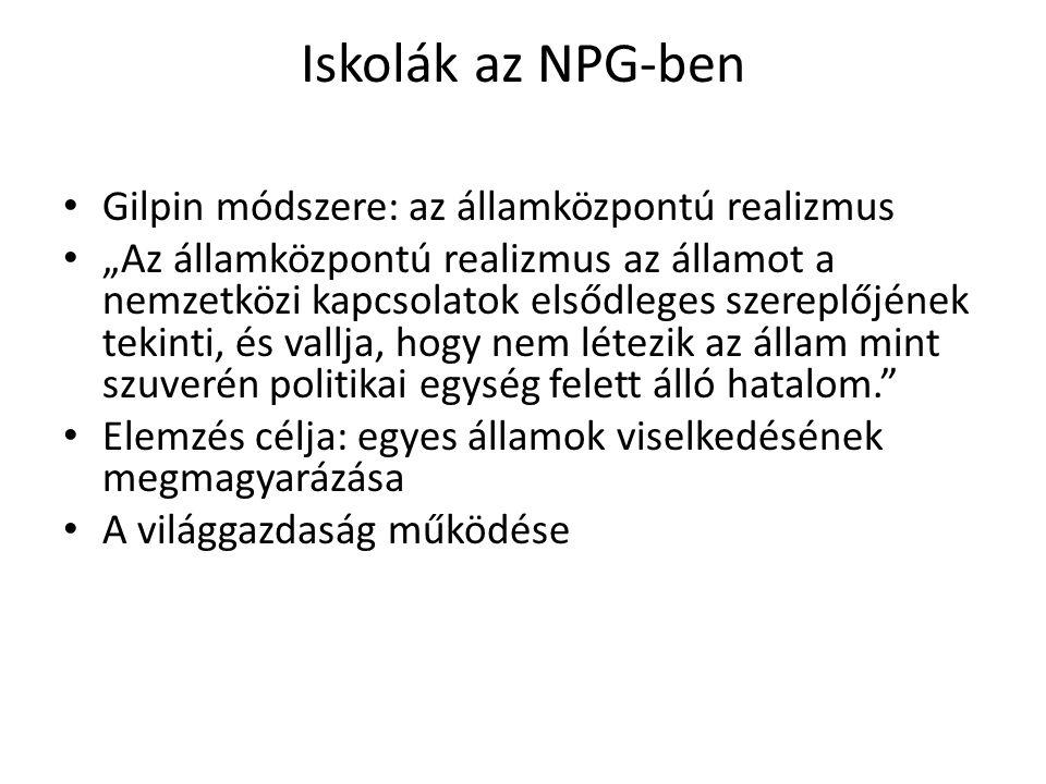 """Iskolák az NPG-ben Gilpin módszere: az államközpontú realizmus """"Az államközpontú realizmus az államot a nemzetközi kapcsolatok elsődleges szereplőjéne"""