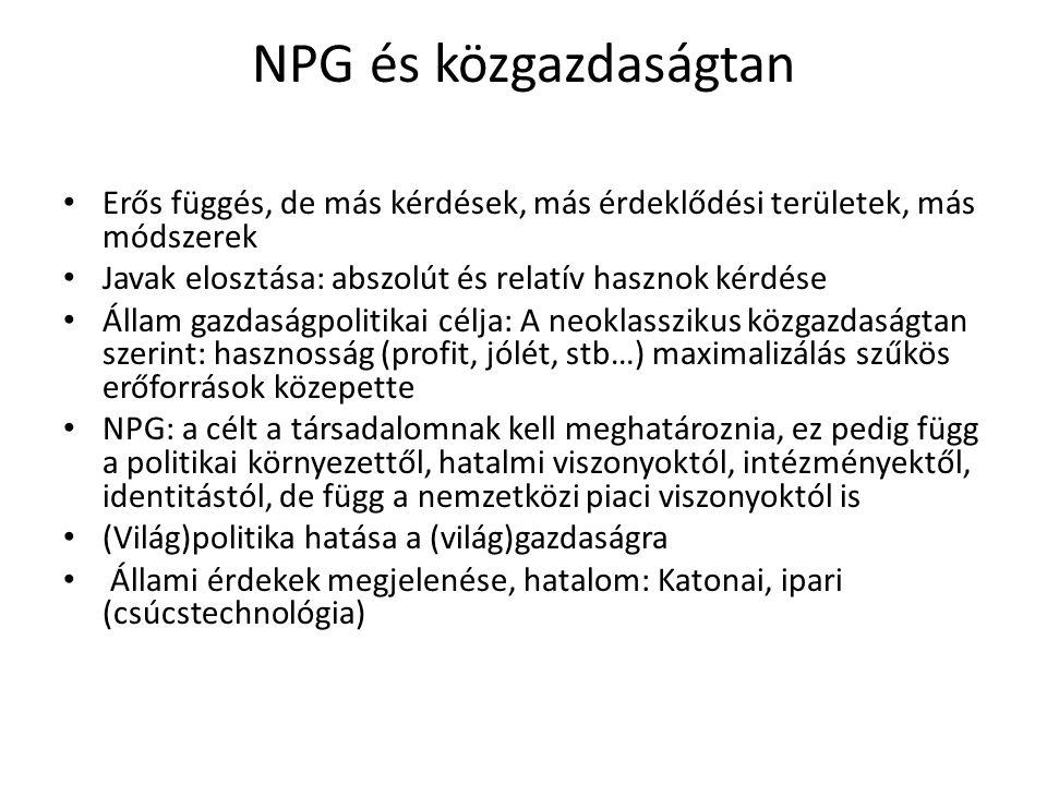 NPG és közgazdaságtan Erős függés, de más kérdések, más érdeklődési területek, más módszerek Javak elosztása: abszolút és relatív hasznok kérdése Állam gazdaságpolitikai célja: A neoklasszikus közgazdaságtan szerint: hasznosság (profit, jólét, stb…) maximalizálás szűkös erőforrások közepette NPG: a célt a társadalomnak kell meghatároznia, ez pedig függ a politikai környezettől, hatalmi viszonyoktól, intézményektől, identitástól, de függ a nemzetközi piaci viszonyoktól is (Világ)politika hatása a (világ)gazdaságra Állami érdekek megjelenése, hatalom: Katonai, ipari (csúcstechnológia)