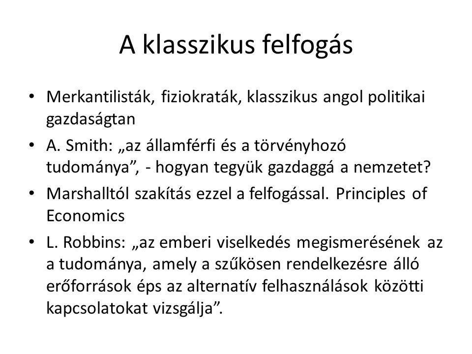 A klasszikus felfogás Merkantilisták, fiziokraták, klasszikus angol politikai gazdaságtan A.