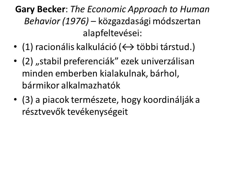 """Gary Becker: The Economic Approach to Human Behavior (1976) – közgazdasági módszertan alapfeltevései: (1) racionális kalkuláció (↔ többi társtud.) (2) """"stabil preferenciák ezek univerzálisan minden emberben kialakulnak, bárhol, bármikor alkalmazhatók (3) a piacok természete, hogy koordinálják a résztvevők tevékenységeit"""