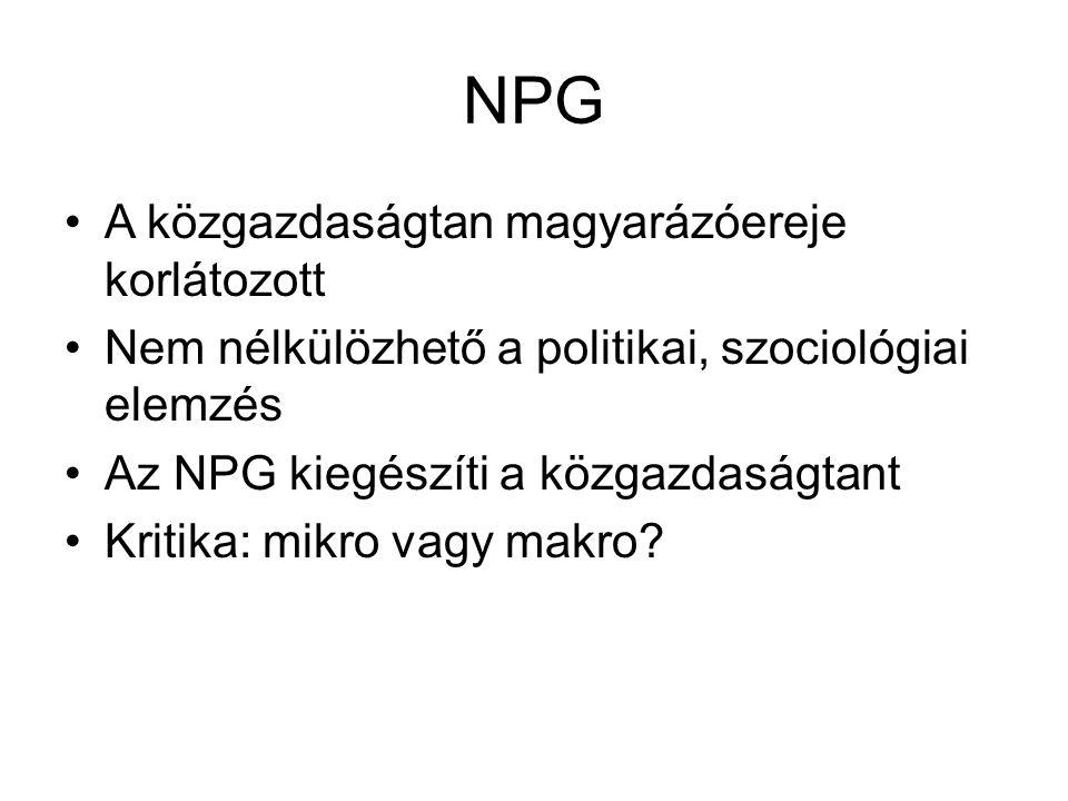 NPG A közgazdaságtan magyarázóereje korlátozott Nem nélkülözhető a politikai, szociológiai elemzés Az NPG kiegészíti a közgazdaságtant Kritika: mikro vagy makro?