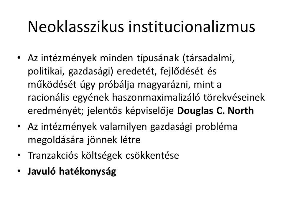 Neoklasszikus institucionalizmus Az intézmények minden típusának (társadalmi, politikai, gazdasági) eredetét, fejlődését és működését úgy próbálja mag