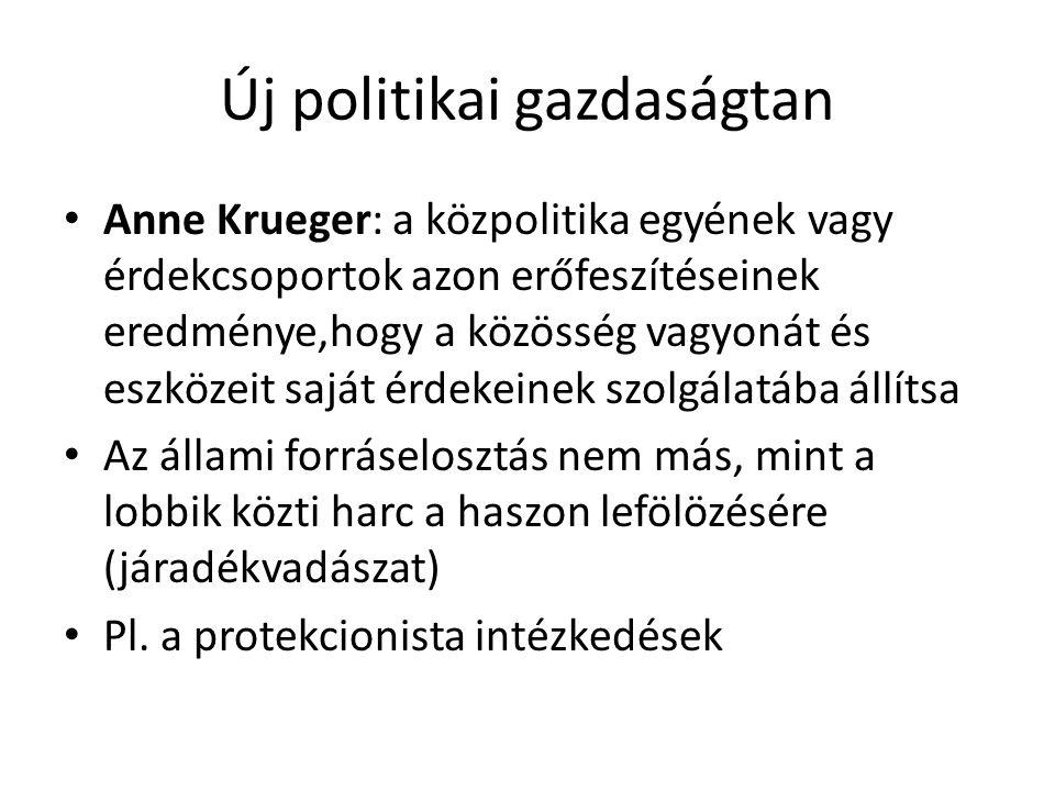 Új politikai gazdaságtan Anne Krueger: a közpolitika egyének vagy érdekcsoportok azon erőfeszítéseinek eredménye,hogy a közösség vagyonát és eszközeit