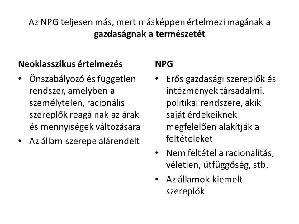 A gazdasági szereplők természete Neoklasszikus felfogás A szereplők személytelenek, racionálisak önérdekkövetők és válaszolnak a piaci jelzésekre, nemzeti és kulturális hovatartozástól függetlenül Az államok, közösségek, intézmények csupán ezek összegzései MNC példa NPG A szereplők beágyazottak egy nemzeti kultúrába, szokásokba, (Politikai gazdaságtan nemzeti rendszerei) Az államok kiemelkedő szereplők, nemzetközi szinten elsődlegesek A nagy érdekcsoportok kimagasló szerepe