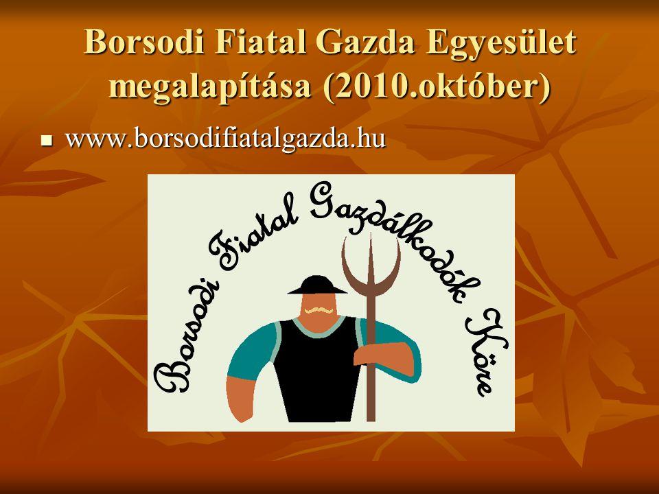 Borsodi Fiatal Gazda Egyesület megalapítása (2010.október) www.borsodifiatalgazda.hu www.borsodifiatalgazda.hu