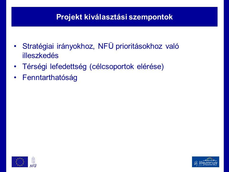 Projekt kiválasztási szempontok Stratégiai irányokhoz, NFÜ prioritásokhoz való illeszkedés Térségi lefedettség (célcsoportok elérése) Fenntarthatóság