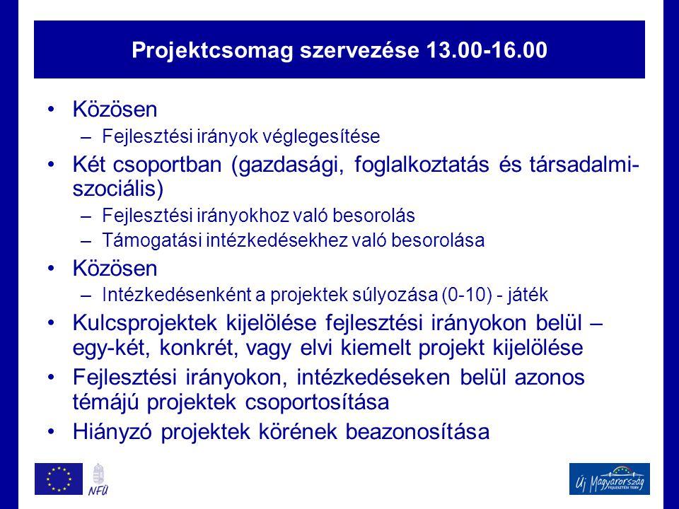 Projektcsomag szervezése 13.00-16.00 Közösen –Fejlesztési irányok véglegesítése Két csoportban (gazdasági, foglalkoztatás és társadalmi- szociális) –Fejlesztési irányokhoz való besorolás –Támogatási intézkedésekhez való besorolása Közösen –Intézkedésenként a projektek súlyozása (0-10) - játék Kulcsprojektek kijelölése fejlesztési irányokon belül – egy-két, konkrét, vagy elvi kiemelt projekt kijelölése Fejlesztési irányokon, intézkedéseken belül azonos témájú projektek csoportosítása Hiányzó projektek körének beazonosítása